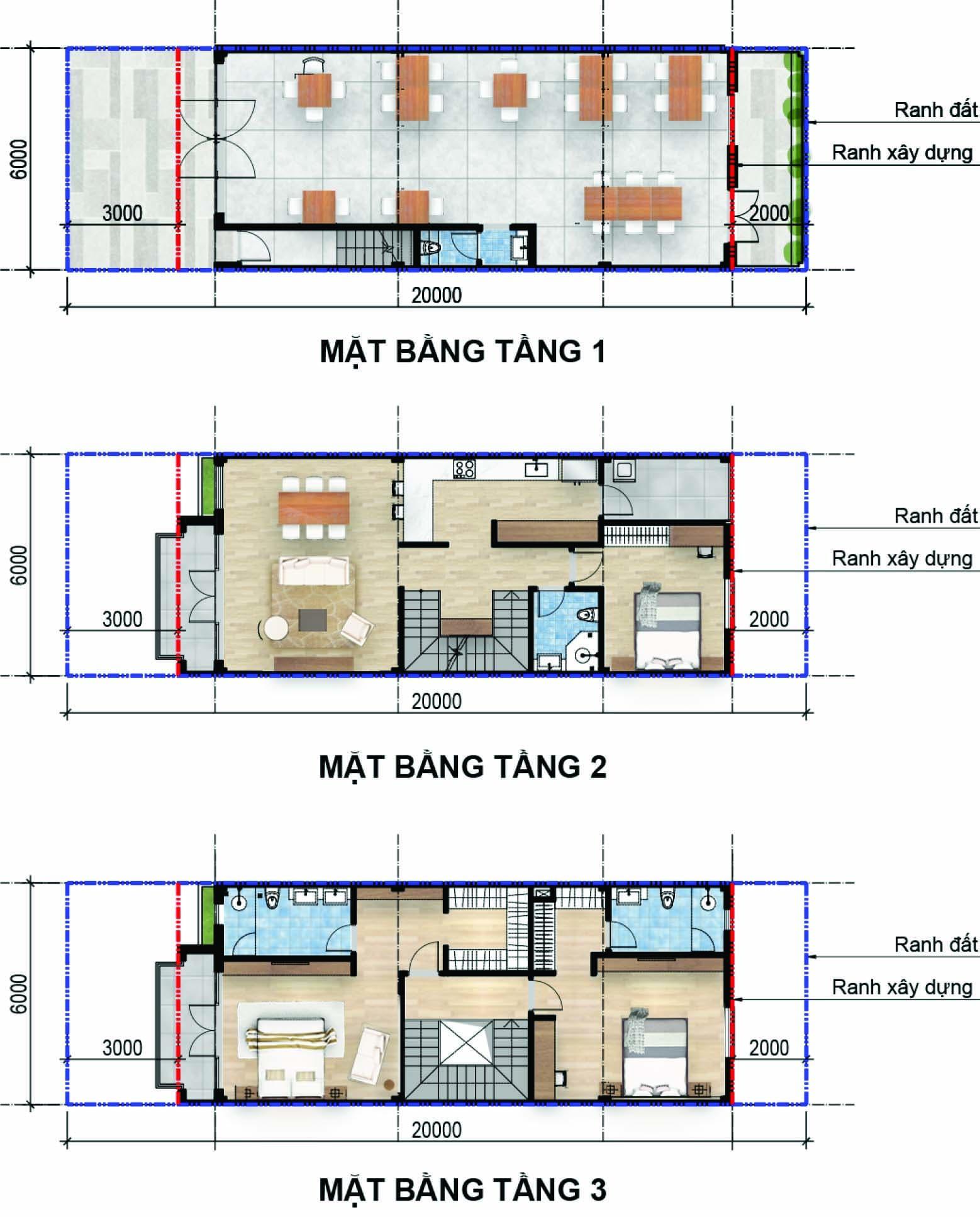 Thiết kế chi tiết mặt bằng tầng nhà phố thương mại 6x20 dự án Aqua city