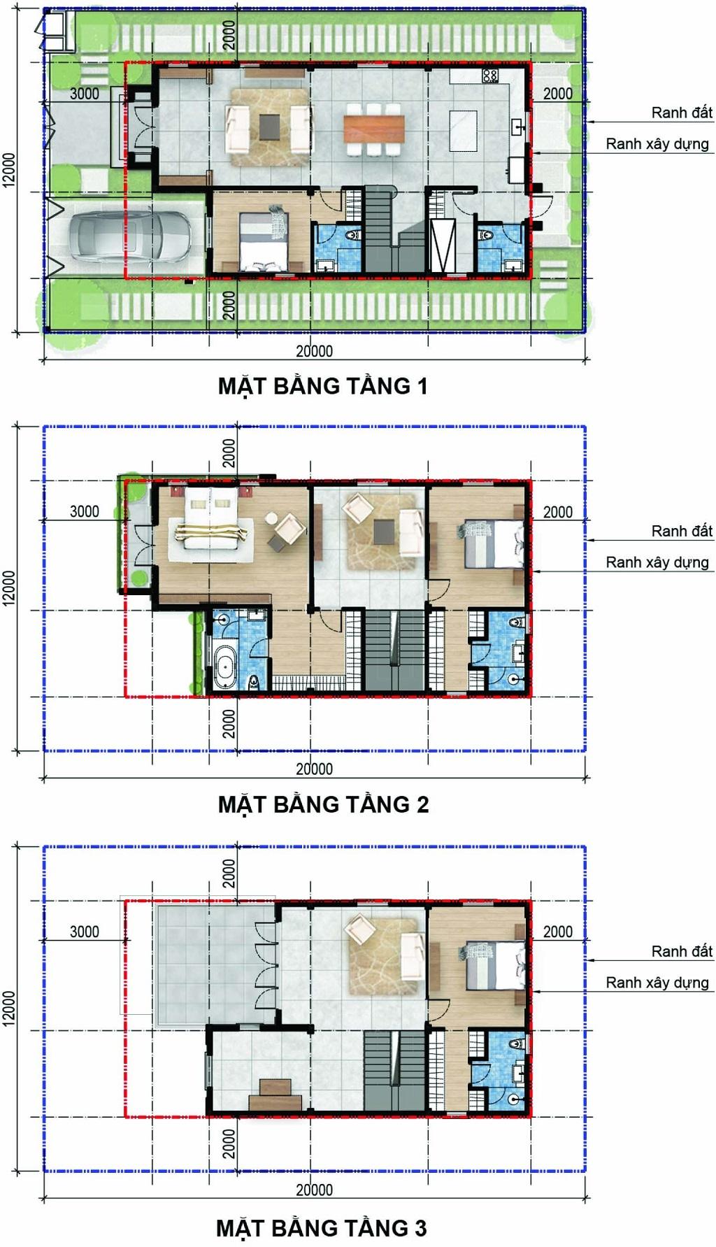 Mặt bằng tầng biệt thự đơn lập 12x20  dự án aqua city