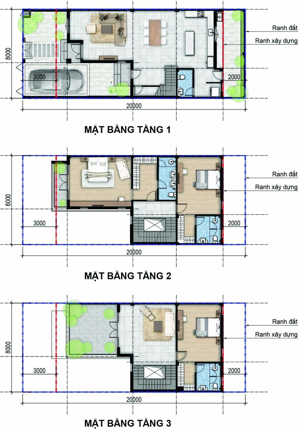 Thiết kế mặt bằng tầng nhà phosos 8x20 dự án Aqua city